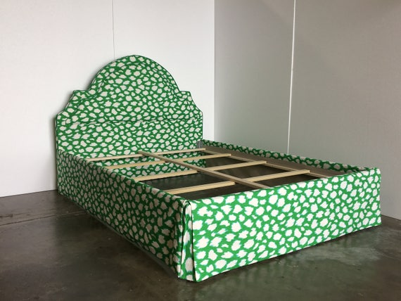 Custom Bed -  With Curved Headboard, Inset Piping