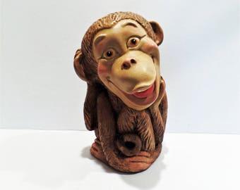 Vintage Monkey Piggy Bank ceramic 1960's animal still coin money
