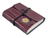 Burgundy Faux Leather Journal with Lined Paper and Rose Key Cameo, Planner, Notebook, Ready to Ship