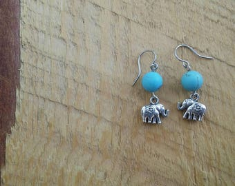 Turquoise Hematite and Sterling Silver Elephant Earrings