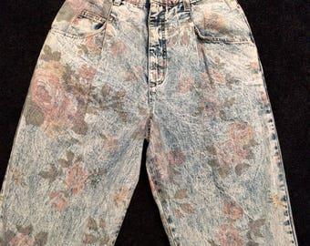 1980s Acid Wash Floral Denim High Waisted Jean Pants