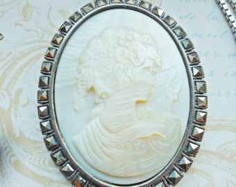 Vintage Sterling Silver MOP Cameo Marcasite Pendant Mother of Pearl Necklace