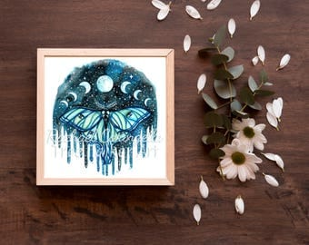 Luna Moth -  Moon Phases Moth - Watercolor Painting by  Rachael Caringella - Tree Talker Art -
