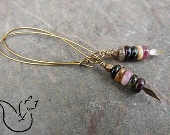 Boucles longues crochet métal bronze et pierre rondelle tourmaline multicolore pointe