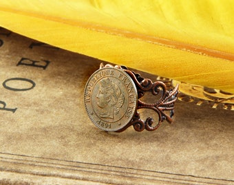 1891 - Vintage Coin Ring - Victorian - France, French Centime, Republique Francaise
