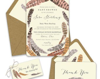 Feather Shower Invitations
