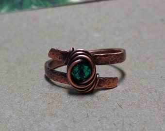 Copper Ring Made to Order, Choose your Bead Color and Size, Hammered Oxidized Wire Wrapped Ring, match Beaded Hair Pin or Sticks, NataBijoux