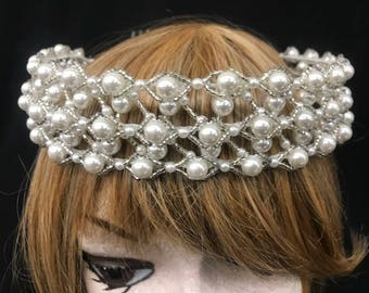 Vintage Stunning Lattice Wedding Crown With Pearls And Silver Beading