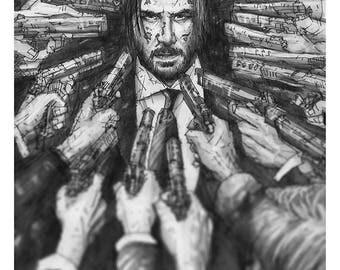 I know Gun Fu print of a pencil drawing of John Wick