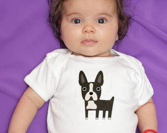 Boston Terrier baby clothes, baby bodysuit for baby boy or baby girl, gift for baby