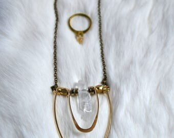 Long Quartz Saturn Necklace