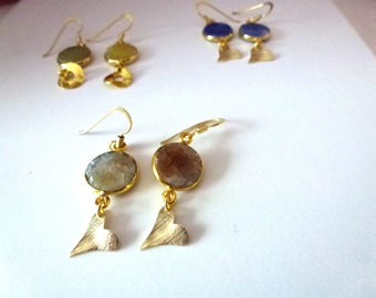 small dangle quartz gold plated earrings