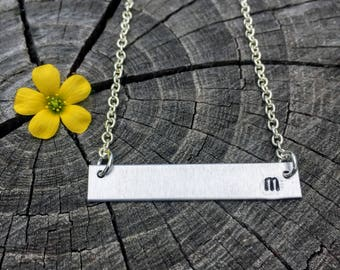 Silver Hand Stamped Initial Bar . Personalized . Custom . Necklace