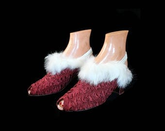 1930s Shoes / 30s Wine Red Ruched Boudoir Slippers / White Fur Trim / Peep Toe / Sling Back
