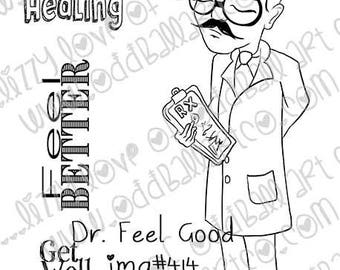 Digital Stamp Instant Download Cute Whimsical Male Doctor ~ Dr. Feel Good  Image No. 414 by Lizzy Love