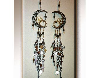 Steampunk Crescent Moon Earrings Dripping in Crystals and Clock Hands