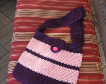 FREE SHIPPING...Vintage hand-knit pink/purple bag/purse/carry-all