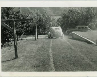 "Vintage Photo ""Just Married Car"" Snapshot Antique Black & White Photograph Found Paper Ephemera Vernacular Interior Design Mood - 59"