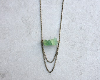 Fluorite Cluster and Brass Dangle Chain Necklace // Raw Gemstone Necklace // Semiprecious Stone // Gift for Her // Boho Glam Jewelry