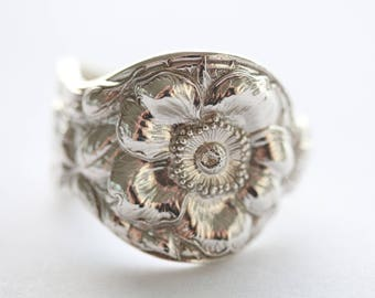 RARE Antique Sterling Silver Ring - Wild Rose, 1942
