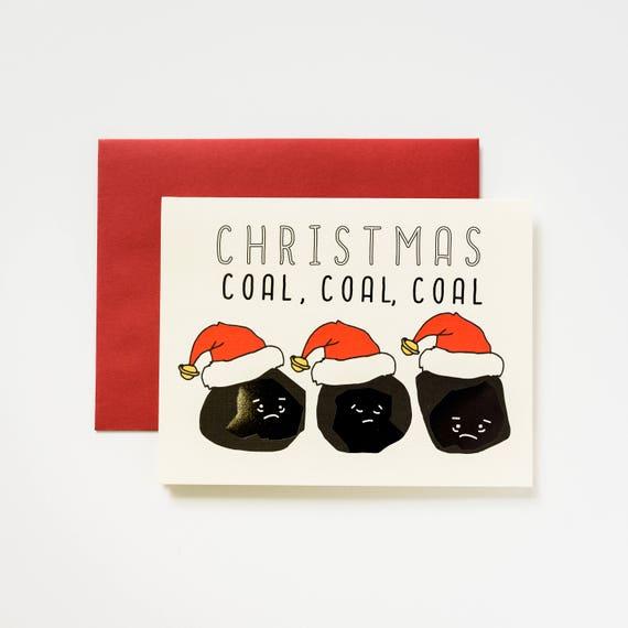Christmas Black Foil Coal Coal Coal Greeting Card