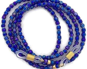 Carnival Glass, Iridescent Cobalt Blue Rainbow Glasses Leash GL2589