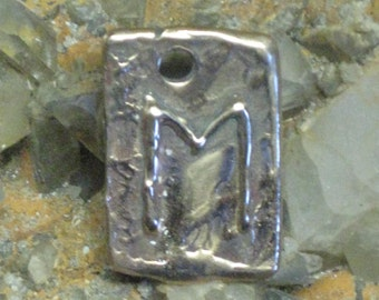 RUNES.Elder Futhark Bronze Rune Pendant of Progress EHWAZ.Rune Pendant.Organic Texture.Magical Rune.Magical Amulet.Viking Runes