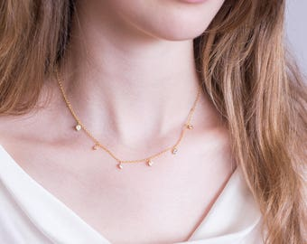Dainty Swarovski Crystal Necklace, Simple Bridal Jewelry, Bridesmaid Gift, Tiny Crystal Necklace, Gold Filled, Minimalist Necklace, Gift