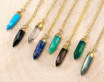 Crystal Point Necklace - Layered Necklaces - Stone Spike Pendant - Chrysoprase Necklace - Gold Necklace - Layering Jewelry - Boho Necklace