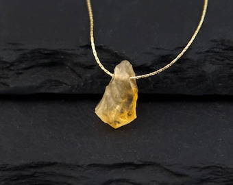 November Birthstone Necklace, Raw Citrine Stone Pendant, Raw Birthstone Jewelry, Healing Gifts, Inspirational Jewelry, Gold Citrine Necklace