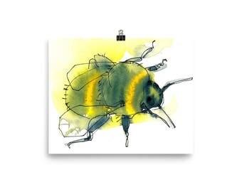 Bumblebee / Art Print of Nature Watercolor