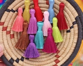 "Mini Silky Jewelry Tassels, SPRING Pantone Colors Mini Polyester, Handmade Fair Labor Tassels, Mala Necklace Supply, 1.25"", You Choose 8+"