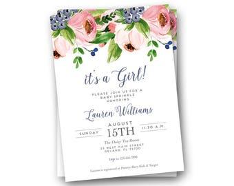 Baby Girl Sprinkle Invitations - Baby Girl Sprinkle Invitation -  Printable Sprinkle Invitations