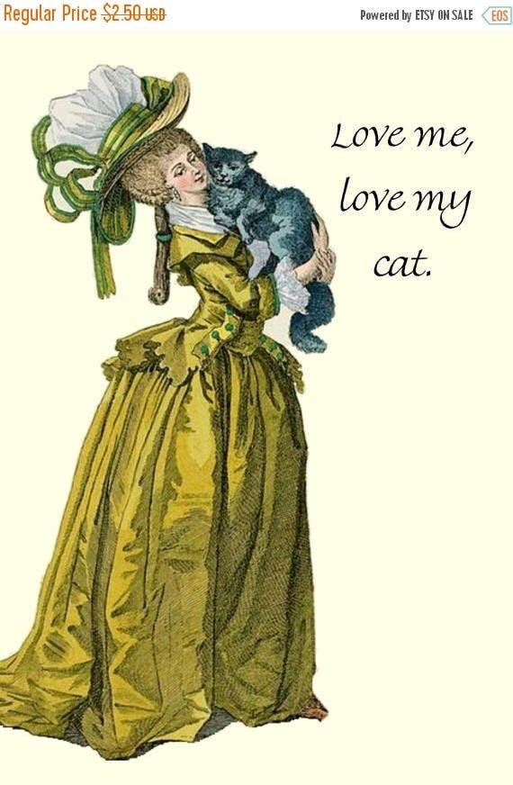Love Me, Love My Cat. Cat. Love. Feline. Marie Antoinette Card. Marie Antoinette. Postcard. Yellow, Gray. Hat. High Hair. Free Shipping.