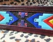 American Indian keychain, Tribal design, Key rings, key holders, gift, leather keychain, handmade key fob, colorful key fob