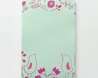 To-Do List, Valentine's Day Gift, Valentine's Stationery, Secret Garden Art, Bird Illustration, Gift for Her, Gift Under 10, Pink Birds
