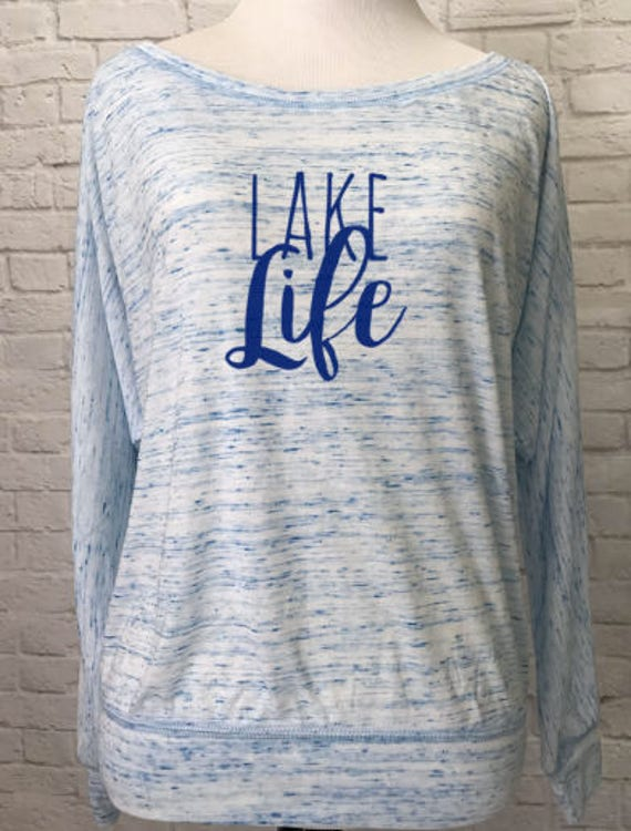 Lake Life Flowy off the Shoulder Women's Long Sleeve T-shirt Marble Blue
