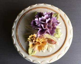 Bisque Porcelain Trinket Box Vintage Arnart Engagement Ring Dish White & Purple Floral - #J2094