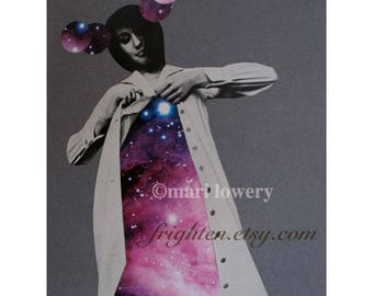 Surreal Paper Collage  8.5 x 11 Inch One of a Kind Purple and Gray Retro Space Art, Avante Garde Fashion Art, Surreal Art