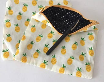 Pencil pouch Pineapple gifts zipper for girl gift for her makeup organizer pouch Reusable bag pouch pencil case Ananas fabric print