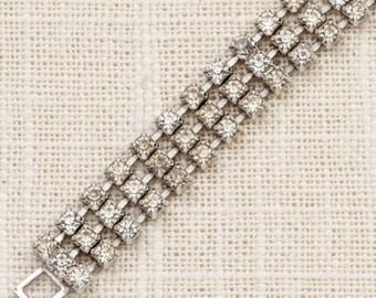 Vintage Bracelet Triple Strand Dainty Rhinestone Silver Chain Costume Jewelry 7J