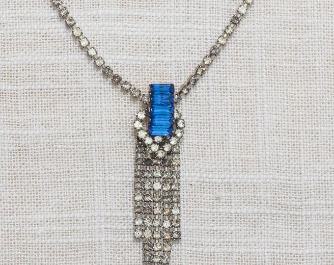 Blue Rhinestone Necklace Vintage Chandelier Crystal & Silver Costume Jewelry 7AA 10