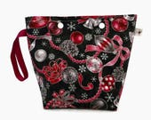 Medium Snap Pouch Black, Red and Silver Ornaments and Bells Flat Bottom Wedge Snap Yarn Project Storage Pouch S459