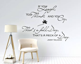 Jimmy Valvano Quotes Wall Decal, Jimmy V Full Day Quote,l NC State Basketball Coach Jimmy Valvano, Valvano Speech Quote, Laugh, Think, Cry