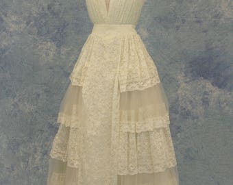 Pale Yellow Ivory Lace And Tulle Tiered Wedding Or Prom Dress SAMPLE SALE