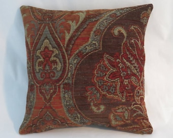 """Brown Blue Carpet Tapestry Pillow, Heavy Soft Chenille, 17"""" Square, Rust & Denim, Southwest or Vintage Decor, Cover Only or Insert Included"""