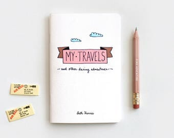 Stocking Stuffer Personalized Travel Journal & Pencil Set, Gift Set, Recycled Notebook - My Travels and Daring Adventures