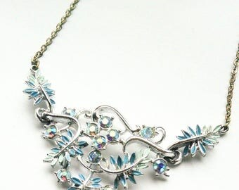 Vintage Necklace Cross AB Rhinestones and Enamel Leaves in Blues Silver Tone