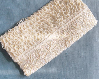 Vintage Beaded Evening Clutch Sequins Off White Second Marriage Wedding Gift Guide Women