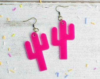 Bright Pink Cactus Earrings | Nickel Free Dangle Earrings | Cactus Statement Earrings | Cactus Gift